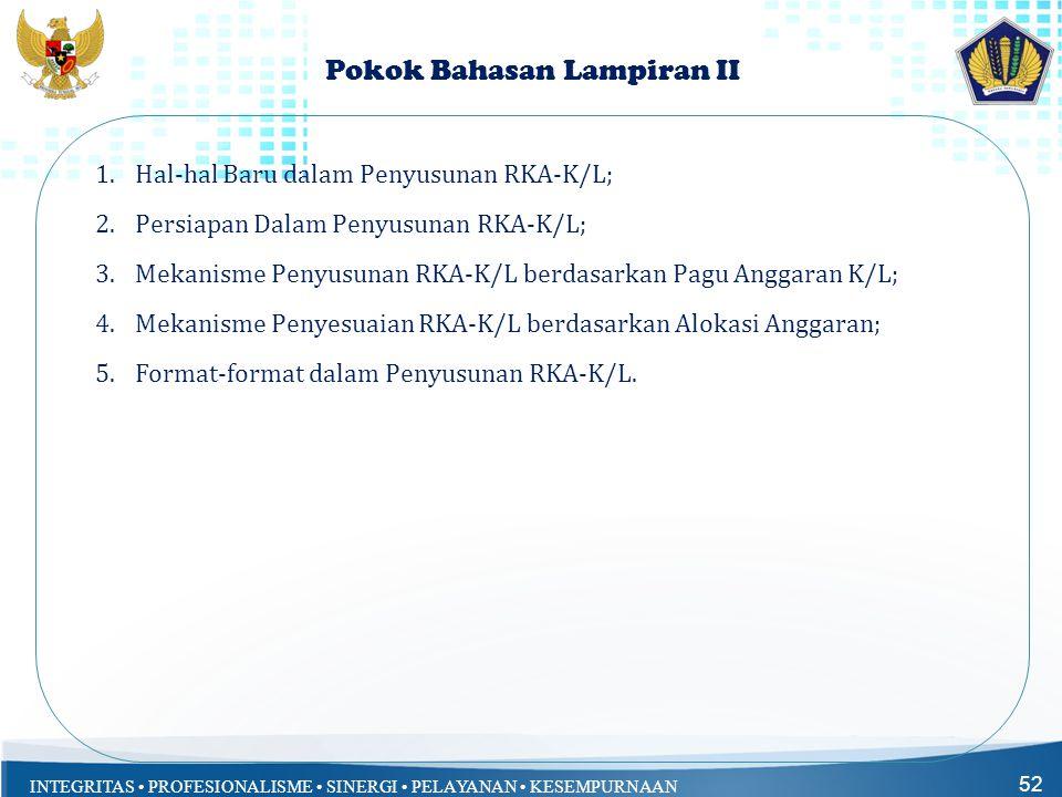 INTEGRITAS • PROFESIONALISME • SINERGI • PELAYANAN • KESEMPURNAAN Pokok Bahasan Lampiran II 1.Hal-hal Baru dalam Penyusunan RKA-K/L; 2.Persiapan Dalam