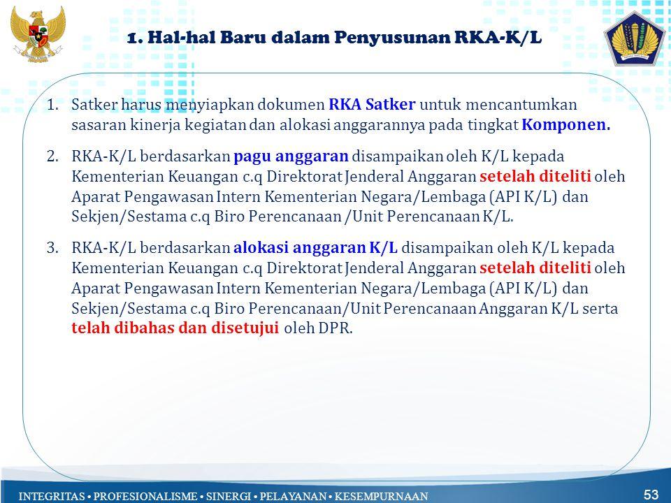 INTEGRITAS • PROFESIONALISME • SINERGI • PELAYANAN • KESEMPURNAAN 1. Hal-hal Baru dalam Penyusunan RKA-K/L 1.Satker harus menyiapkan dokumen RKA Satke