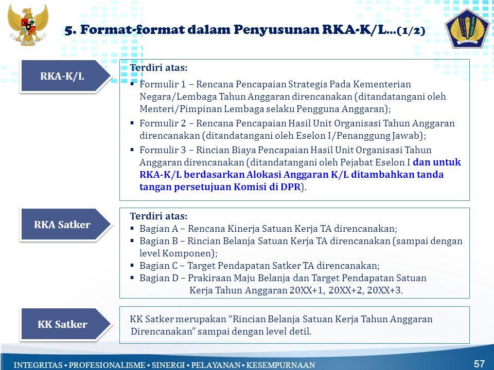 INTEGRITAS • PROFESIONALISME • SINERGI • PELAYANAN • KESEMPURNAAN 5. Format-format dalam Penyusunan RKA-K/L …(1/2) 57 Terdiri atas:  Formulir 1 – Ren
