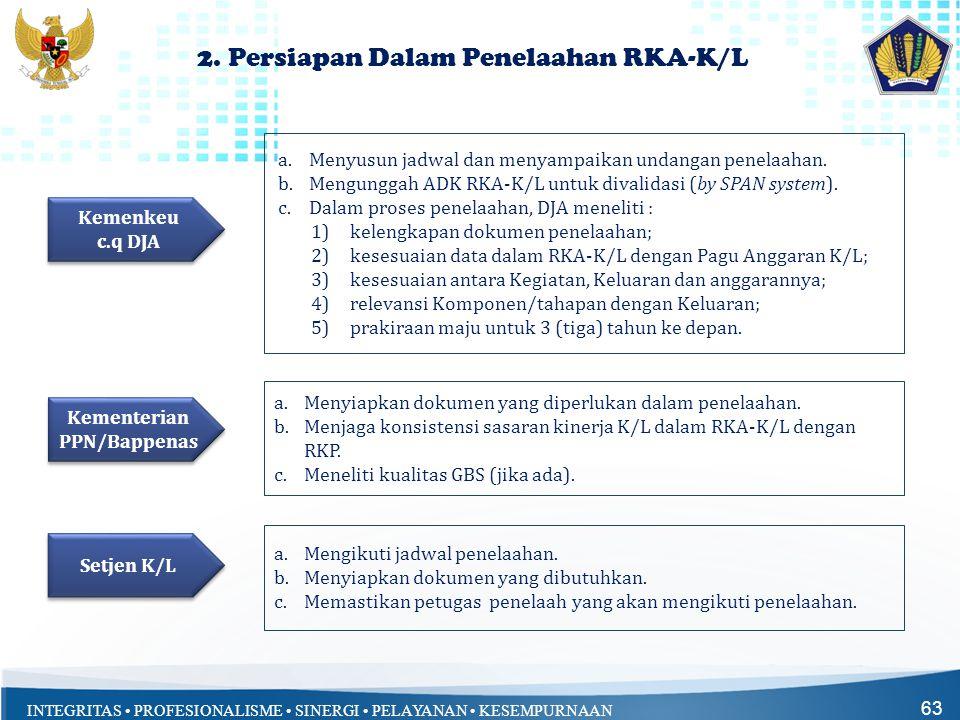 INTEGRITAS • PROFESIONALISME • SINERGI • PELAYANAN • KESEMPURNAAN 63 2. Persiapan Dalam Penelaahan RKA-K/L a.Menyusun jadwal dan menyampaikan undangan