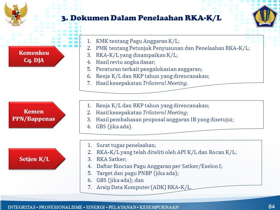 INTEGRITAS • PROFESIONALISME • SINERGI • PELAYANAN • KESEMPURNAAN 64 3. Dokumen Dalam Penelaahan RKA-K/L 1.KMK tentang Pagu Anggaran K/L; 2.PMK tentan