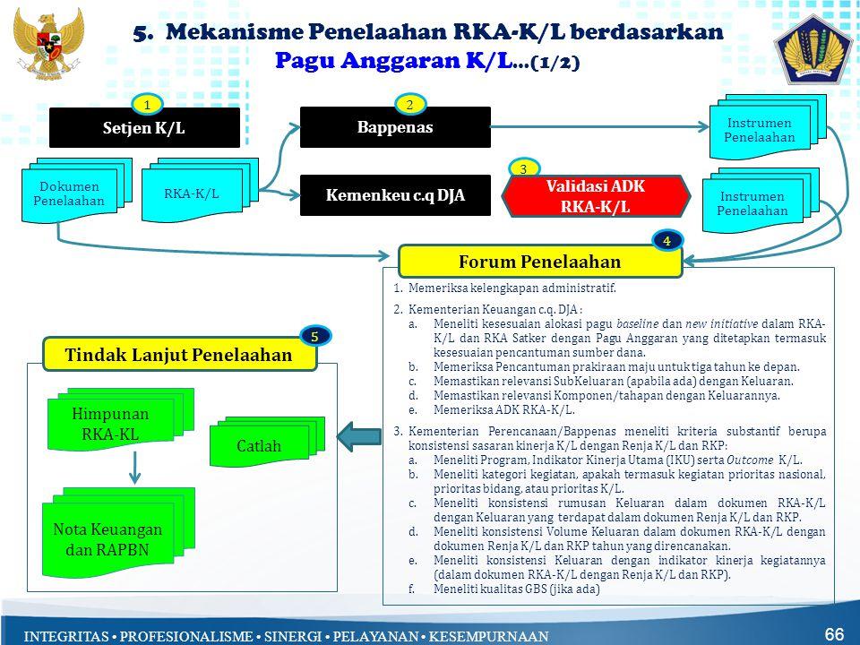 INTEGRITAS • PROFESIONALISME • SINERGI • PELAYANAN • KESEMPURNAAN 66 5. Mekanisme Penelaahan RKA-K/L berdasarkan Pagu Anggaran K/L …(1/2) Setjen K/L 1