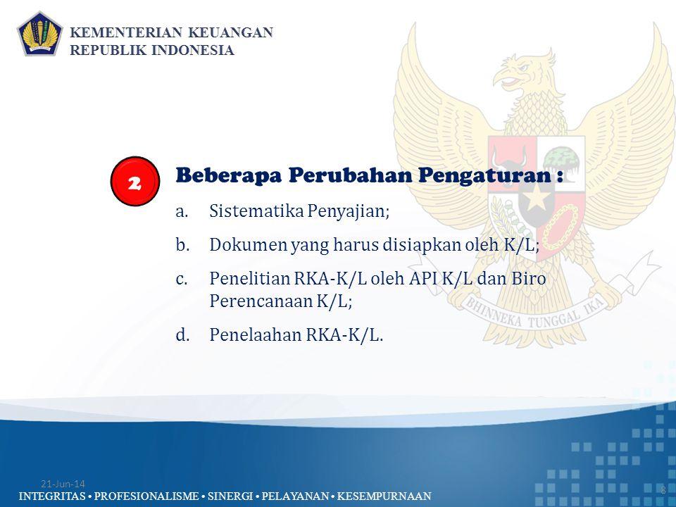 INTEGRITAS • PROFESIONALISME • SINERGI • PELAYANAN • KESEMPURNAAN Kondisi III : RKA-K/L Berubah tetapi Tidak Disetujui DPR 29 1)Dalam hal penyesuaian RKA-K/L yang disampaikan kepada DPR, DPR belum menyetujui sampai dengan minggu ketiga bulan Nopember, DHP RKA-K/L disusun mengacu pada penyesuaian RKA-K/L yang telah diteliti oleh unit API K/L dan Biro Perencanaan K/L.