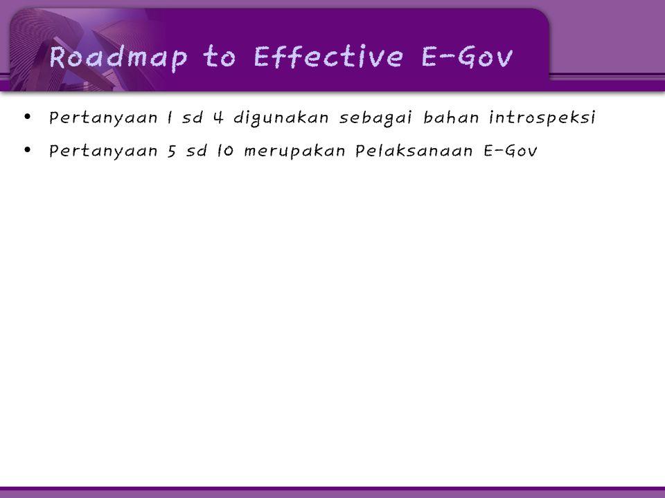 Roadmap to Effective E-Gov • Pertanyaan 1 sd 4 digunakan sebagai bahan introspeksi • Pertanyaan 5 sd 10 merupakan Pelaksanaan E-Gov