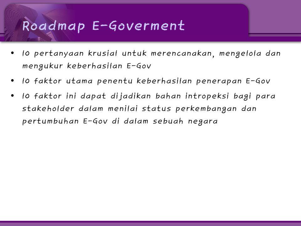 Roadmap E-Goverment • 10 pertanyaan krusial untuk merencanakan, mengelola dan mengukur keberhasilan E-Gov • 10 faktor utama penentu keberhasilan pener