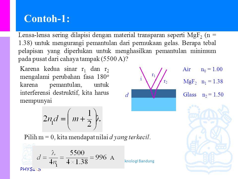 Physics Study Program - FMIPA | Institut Teknologi Bandung PHYSI S Interferensi dalam selaput tipis Macam-macam cahaya dapat dilihat ketika cahaya dip