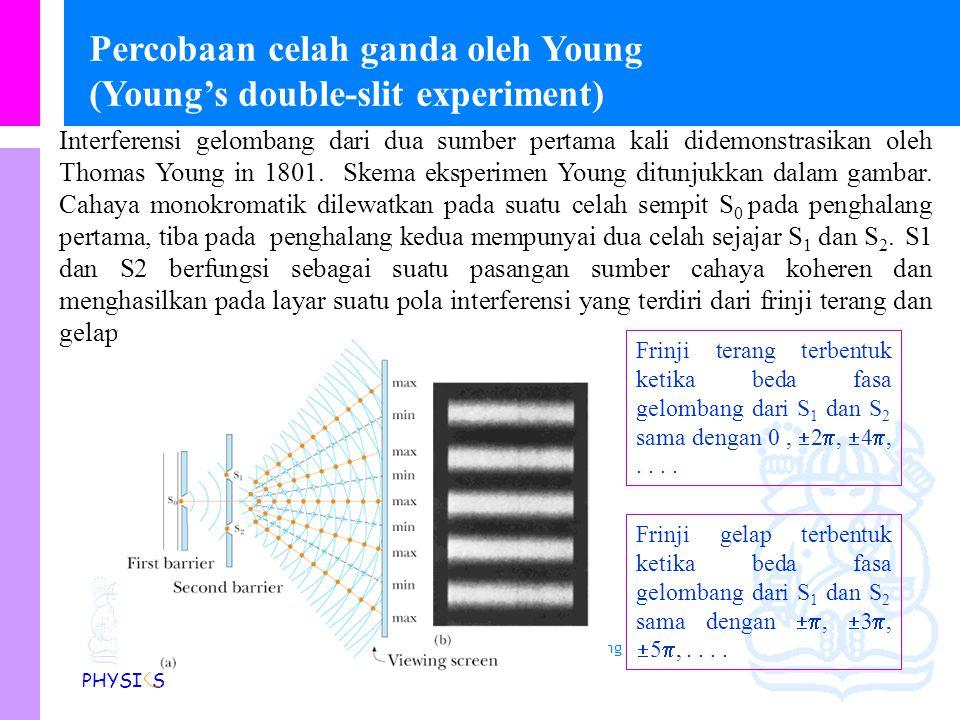 Physics Study Program - FMIPA | Institut Teknologi Bandung PHYSI S Kondisi untuk interferensi yang stabil Pengaruh interferensi dalam cahaya tidak ter