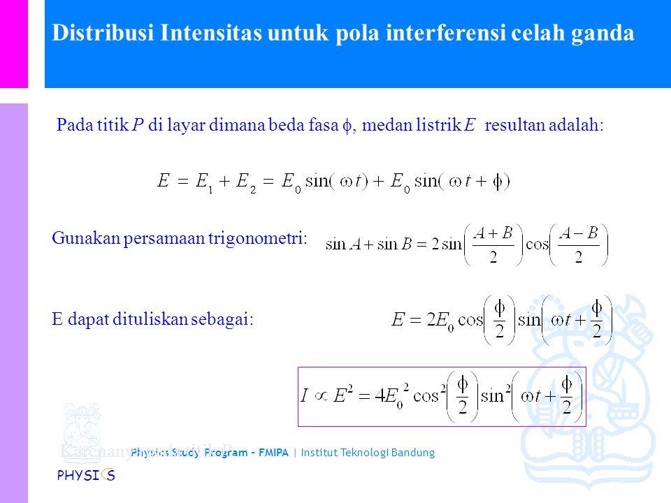 Physics Study Program - FMIPA | Institut Teknologi Bandung PHYSI S Posisi frinji yang diamati dalam percobaan Young dengan mudah dapat dihitung dengan