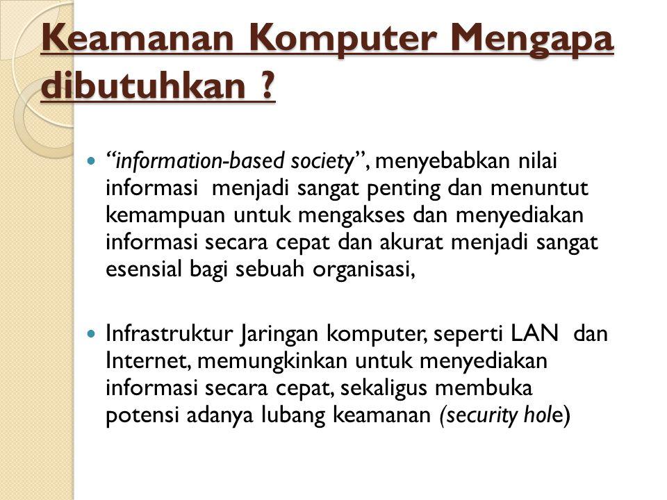 """Keamanan Komputer Mengapa dibutuhkan ?  """"information-based society"""", menyebabkan nilai informasi menjadi sangat penting dan menuntut kemampuan untuk"""