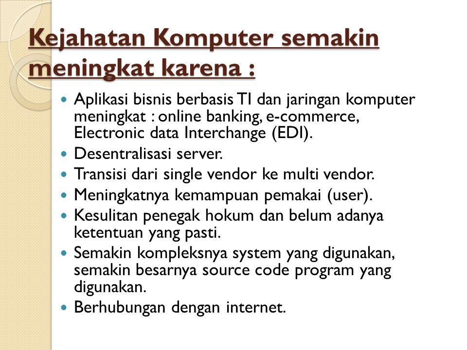 Kejahatan Komputer semakin meningkat karena :  Aplikasi bisnis berbasis TI dan jaringan komputer meningkat : online banking, e-commerce, Electronic d