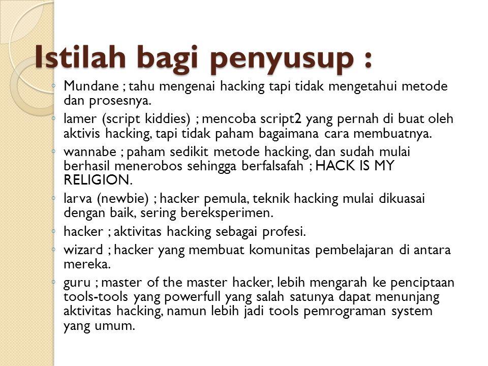 Istilah bagi penyusup : ◦ Mundane ; tahu mengenai hacking tapi tidak mengetahui metode dan prosesnya. ◦ lamer (script kiddies) ; mencoba script2 yang
