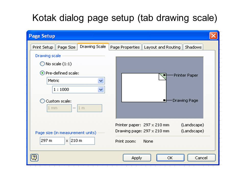Kotak dialog page setup (tab drawing scale)