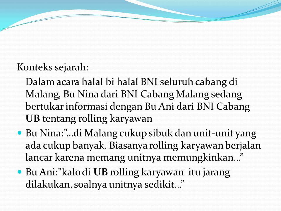 Konteks sejarah: Dalam acara halal bi halal BNI seluruh cabang di Malang, Bu Nina dari BNI Cabang Malang sedang bertukar informasi dengan Bu Ani dari
