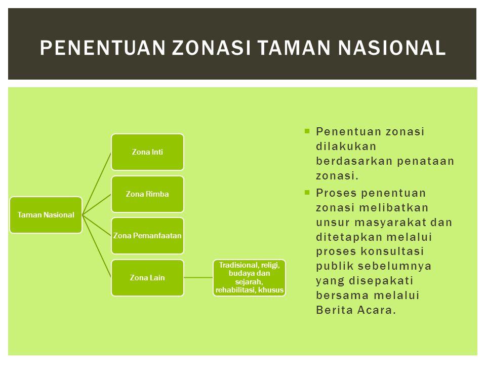  Penentuan zonasi dilakukan berdasarkan penataan zonasi.  Proses penentuan zonasi melibatkan unsur masyarakat dan ditetapkan melalui proses konsulta