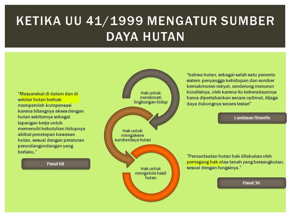 Hak untuk menikmati lingkungan hidup Hak untuk mengakses sumberdaya hutan Hak untuk mengelola hasil hutan KETIKA UU 41/1999 MENGATUR SUMBER DAYA HUTAN