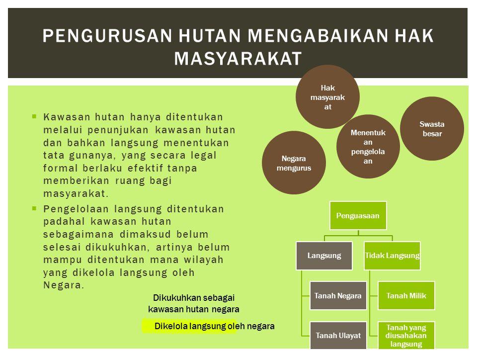  Kawasan hutan hanya ditentukan melalui penunjukan kawasan hutan dan bahkan langsung menentukan tata gunanya, yang secara legal formal berlaku efekti