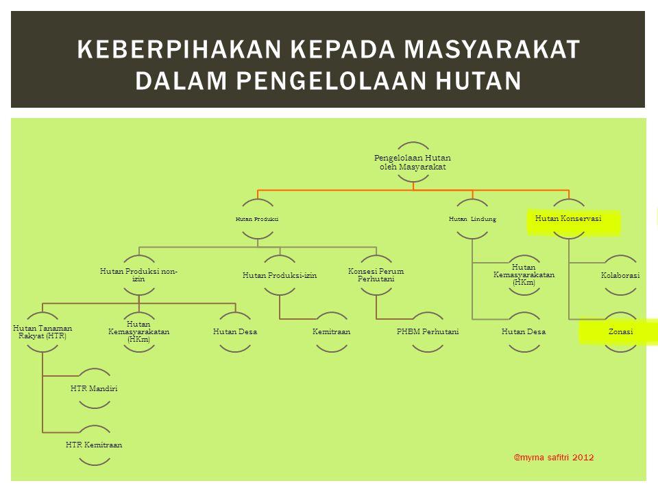 Pengelolaan Hutan oleh Masyarakat Hutan Produksi Hutan Produksi non- izin Hutan Tanaman Rakyat (HTR) HTR Mandiri HTR Kemitraan Hutan Kemasyarakatan (H