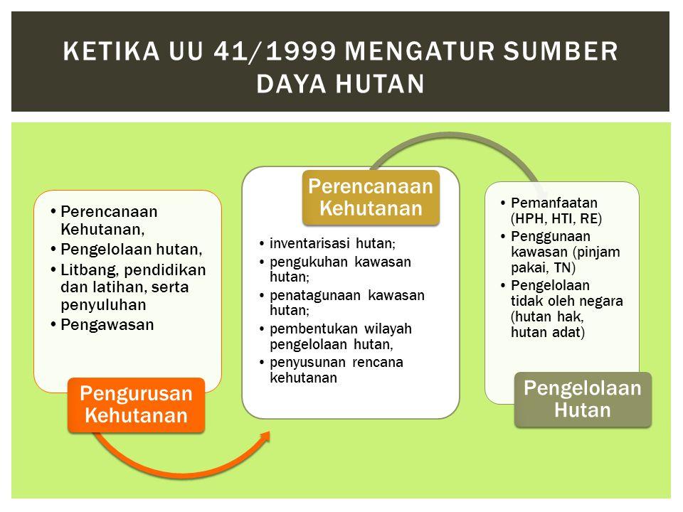 •Perencanaan Kehutanan, •Pengelolaan hutan, •Litbang, pendidikan dan latihan, serta penyuluhan •Pengawasan Pengurusan Kehutanan •inventarisasi hutan;