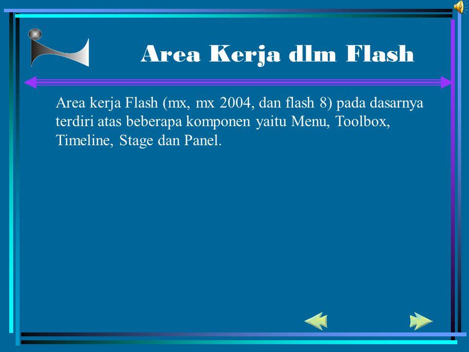 Area Kerja dlm Flash Area kerja Flash (mx, mx 2004, dan flash 8) pada dasarnya terdiri atas beberapa komponen yaitu Menu, Toolbox, Timeline, Stage dan