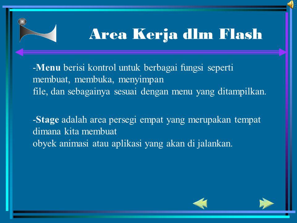 Area Kerja dlm Flash -Menu berisi kontrol untuk berbagai fungsi seperti membuat, membuka, menyimpan file, dan sebagainya sesuai dengan menu yang ditam