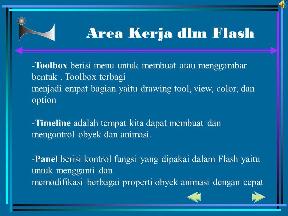 Area Kerja dlm Flash -Toolbox berisi menu untuk membuat atau menggambar bentuk. Toolbox terbagi menjadi empat bagian yaitu drawing tool, view, color,