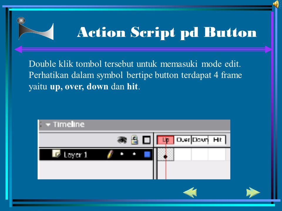 Action Script pd Button Double klik tombol tersebut untuk memasuki mode edit. Perhatikan dalam symbol bertipe button terdapat 4 frame yaitu up, over,