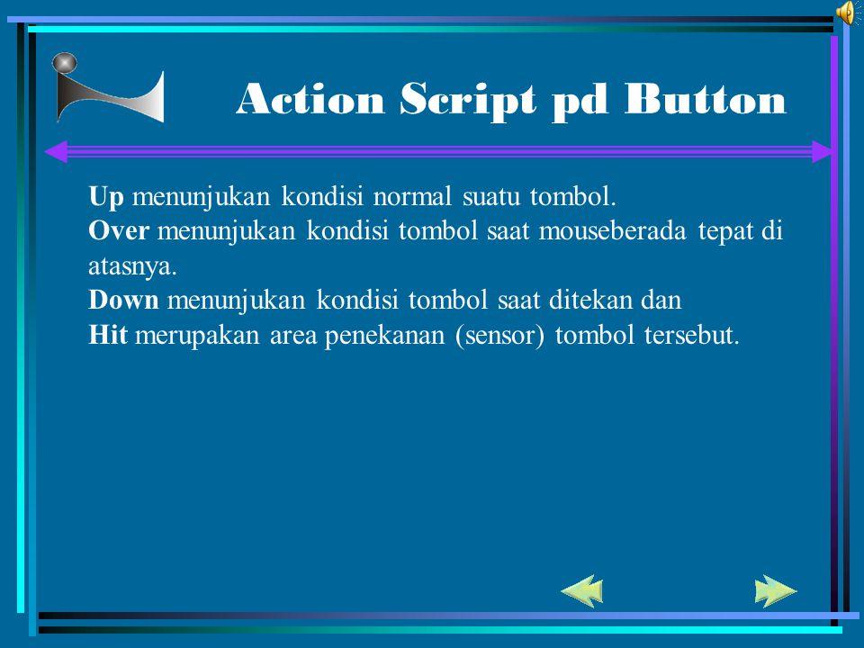 Action Script pd Button Up menunjukan kondisi normal suatu tombol. Over menunjukan kondisi tombol saat mouseberada tepat di atasnya. Down menunjukan k
