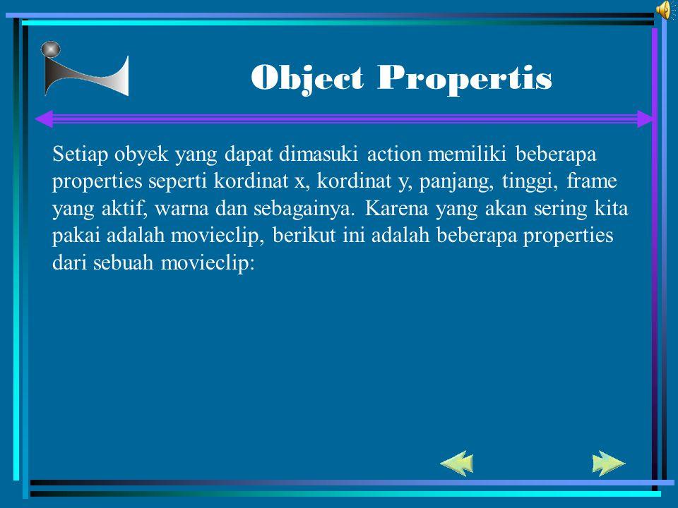 Object Propertis Setiap obyek yang dapat dimasuki action memiliki beberapa properties seperti kordinat x, kordinat y, panjang, tinggi, frame yang akti