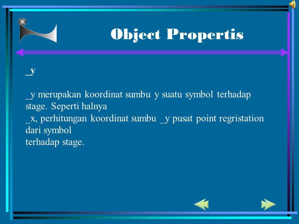 Object Propertis _y _y merupakan koordinat sumbu y suatu symbol terhadap stage. Seperti halnya _x, perhitungan koordinat sumbu _y pusat point regrista
