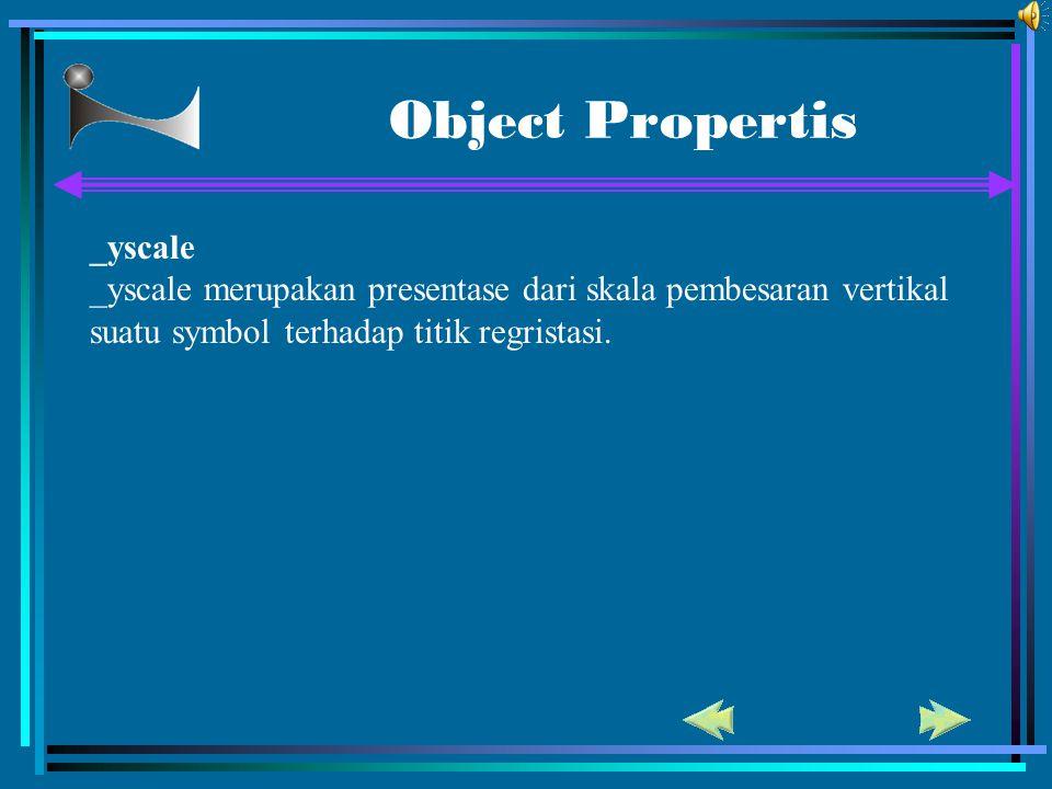 Object Propertis _yscale _yscale merupakan presentase dari skala pembesaran vertikal suatu symbol terhadap titik regristasi.