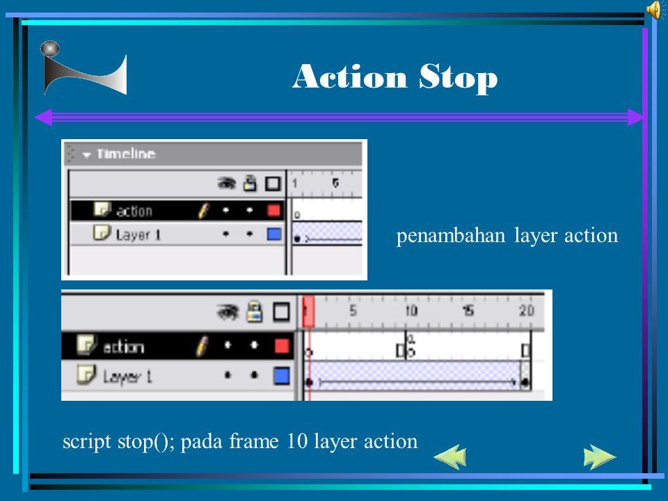 Action Stop penambahan layer action script stop(); pada frame 10 layer action