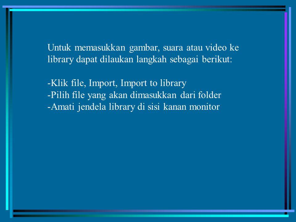 Untuk memasukkan gambar, suara atau video ke library dapat dilaukan langkah sebagai berikut: -Klik file, Import, Import to library -Pilih file yang ak