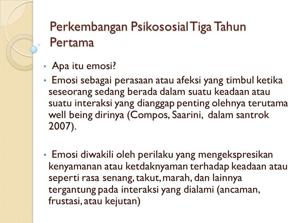 Perkembangan Psikososial Tiga Tahun Pertama • Apa itu emosi? • Emosi sebagai perasaan atau afeksi yang timbul ketika seseorang sedang berada dalam sua