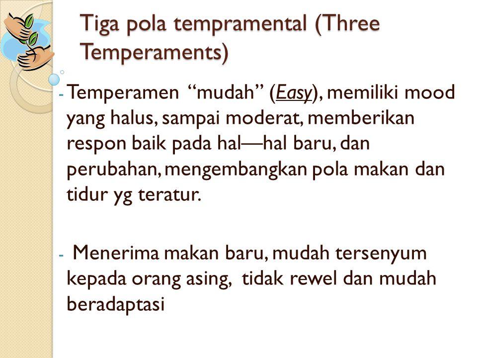 """Tiga pola tempramental (Three Temperaments) - Temperamen """"mudah"""" (Easy), memiliki mood yang halus, sampai moderat, memberikan respon baik pada hal—hal"""