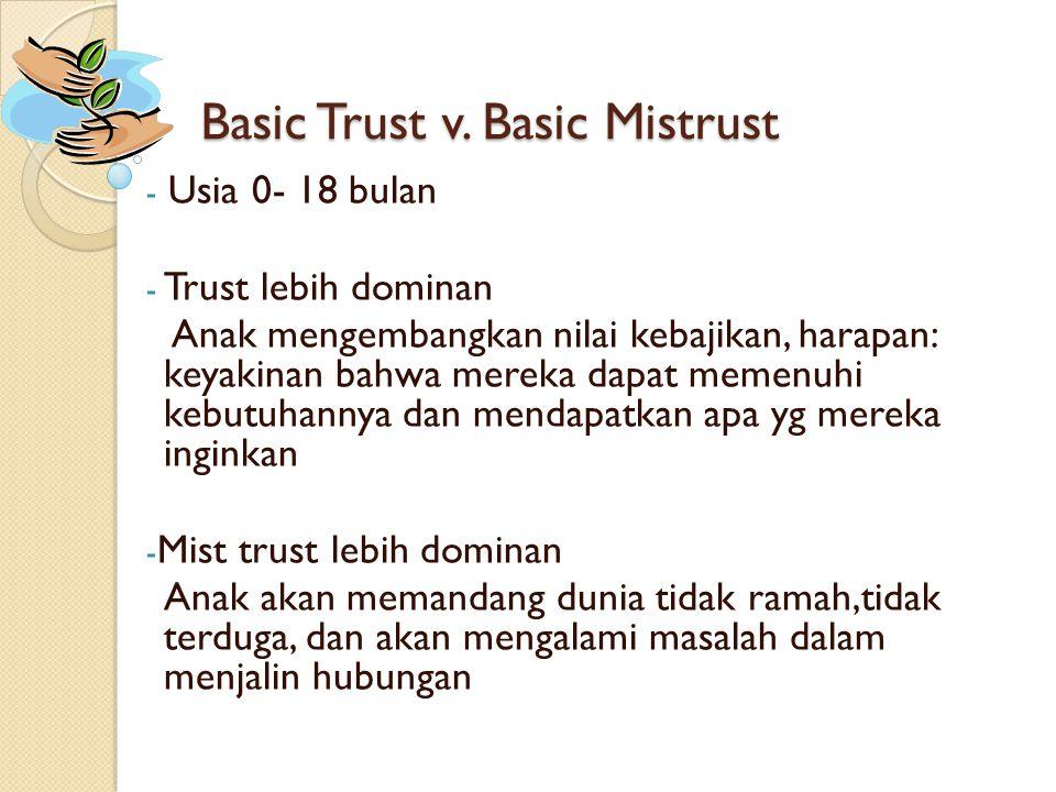 Basic Trust v. Basic Mistrust - Usia 0- 18 bulan - Trust lebih dominan Anak mengembangkan nilai kebajikan, harapan: keyakinan bahwa mereka dapat memen