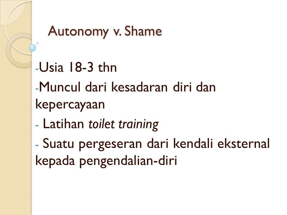 Autonomy v. Shame - Usia 18-3 thn - Muncul dari kesadaran diri dan kepercayaan - Latihan toilet training - Suatu pergeseran dari kendali eksternal kep