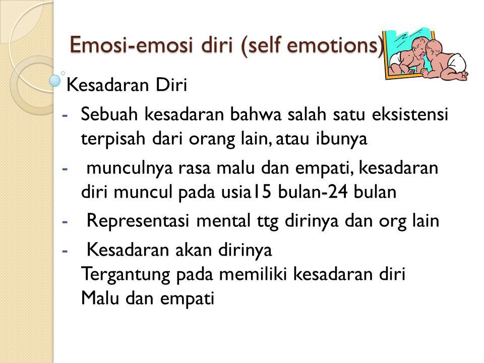 Self-Evaluative Emotions • Kebanggaan, rasa malu dan rasa bersalah • Kesadaran diri tentang perilaku yang diterima secara sosial • Anak-anak membandingkan pikiran dan perilaku terhadap apa yang diterima secara sosial