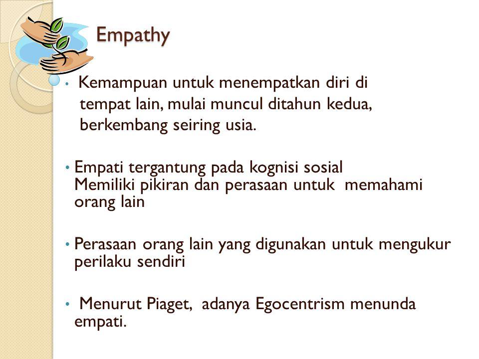 Empathy • Kemampuan untuk menempatkan diri di tempat lain, mulai muncul ditahun kedua, berkembang seiring usia. • Empati tergantung pada kognisi sosia