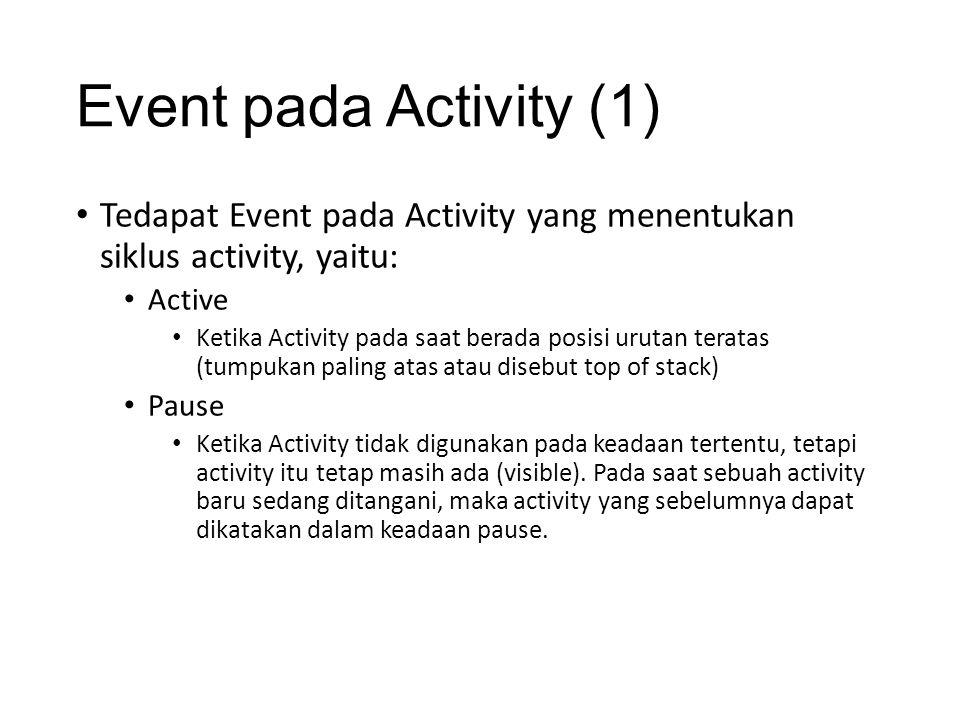 Event pada Activity (1) • Tedapat Event pada Activity yang menentukan siklus activity, yaitu: • Active • Ketika Activity pada saat berada posisi uruta