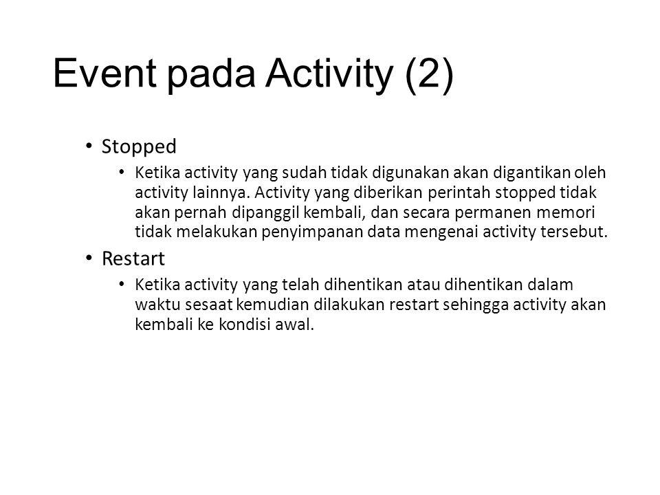 Event pada Activity (2) • Stopped • Ketika activity yang sudah tidak digunakan akan digantikan oleh activity lainnya. Activity yang diberikan perintah