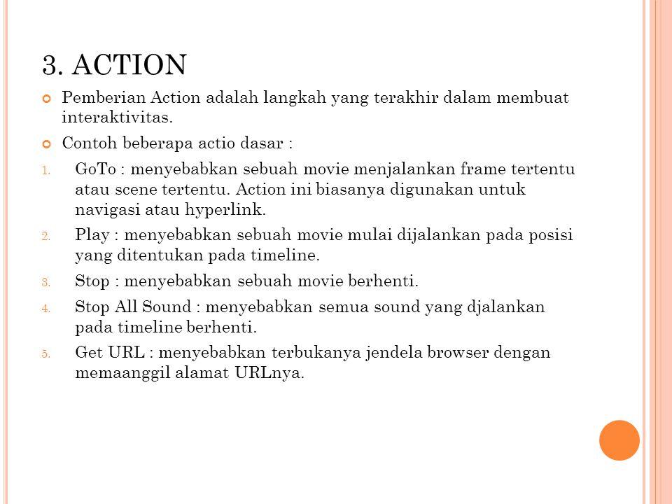 3.ACTION Pemberian Action adalah langkah yang terakhir dalam membuat interaktivitas.