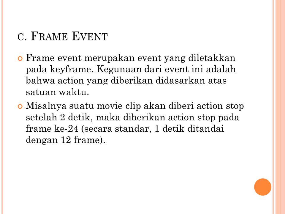 C.F RAME E VENT Frame event merupakan event yang diletakkan pada keyframe.