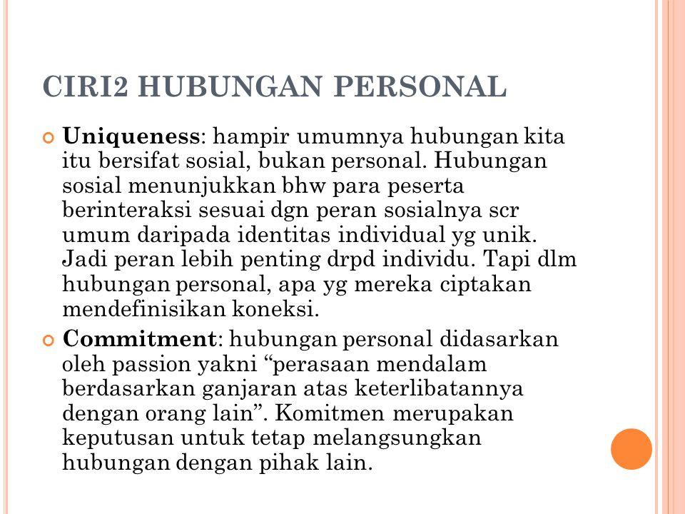 CIRI2 HUBUNGAN PERSONAL Uniqueness : hampir umumnya hubungan kita itu bersifat sosial, bukan personal. Hubungan sosial menunjukkan bhw para peserta be