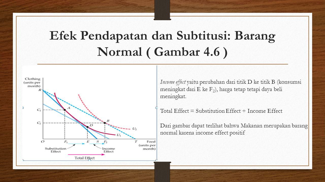 Efek Pendapatan dan Subtitusi: Barang Normal ( Gambar 4.6 ) Income effect yaitu perubahan dari titik D ke titik B (konsumsi meningkat dari E ke F 2 ),