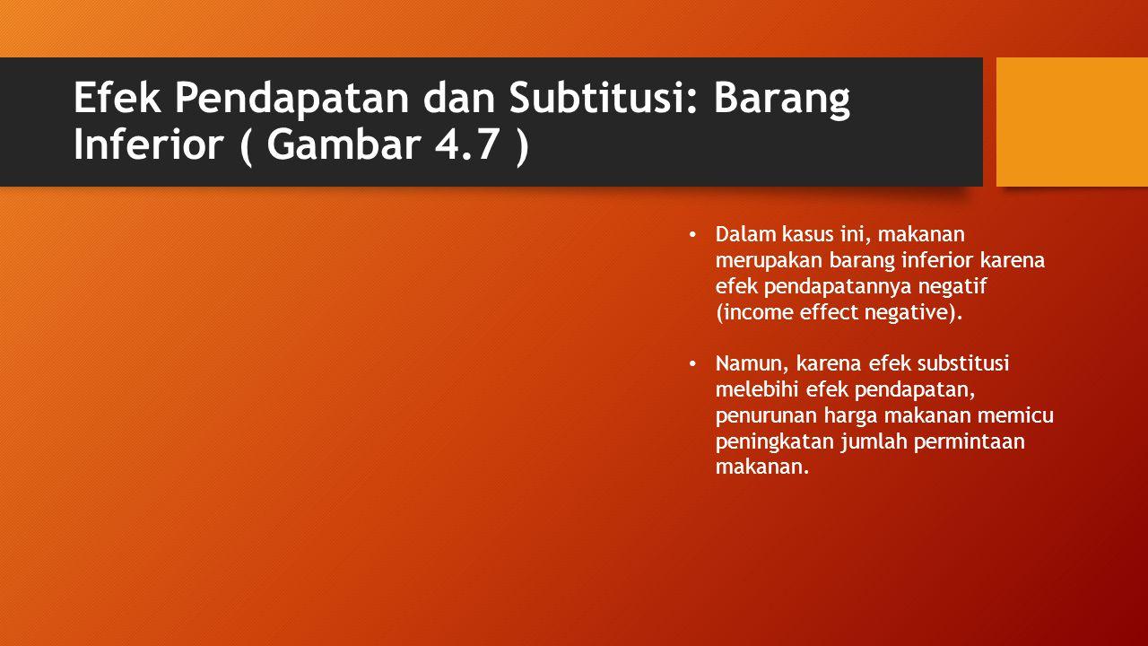 Efek Pendapatan dan Subtitusi: Barang Inferior ( Gambar 4.7 ) • Dalam kasus ini, makanan merupakan barang inferior karena efek pendapatannya negatif (