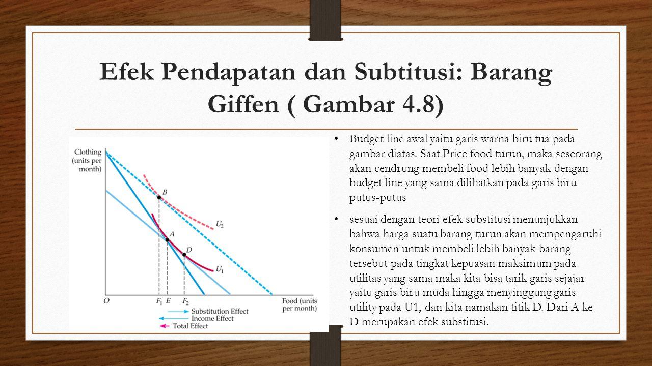 Efek Pendapatan dan Subtitusi: Barang Giffen ( Gambar 4.8) • Budget line awal yaitu garis warna biru tua pada gambar diatas. Saat Price food turun, ma