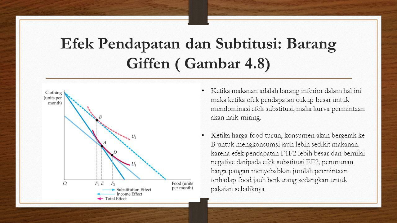 Efek Pendapatan dan Subtitusi: Barang Giffen ( Gambar 4.8) • Ketika makanan adalah barang inferior dalam hal ini maka ketika efek pendapatan cukup bes