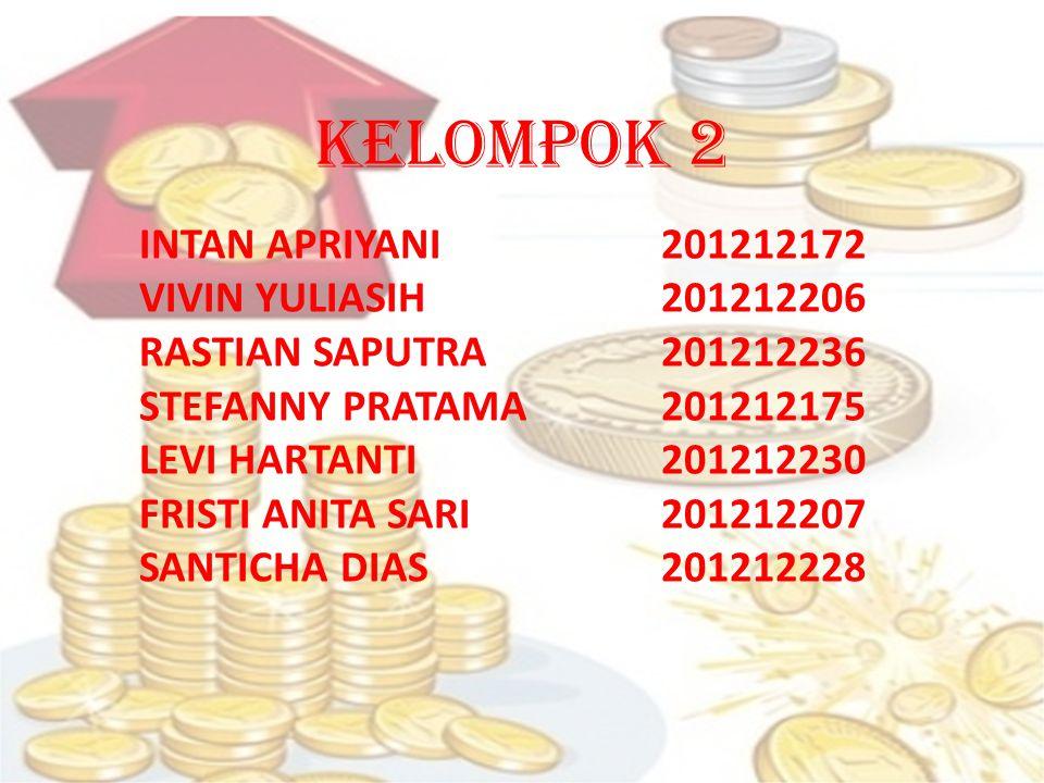 KELOMPOK 2 INTAN APRIYANI201212172 VIVIN YULIASIH 201212206 RASTIAN SAPUTRA201212236 STEFANNY PRATAMA201212175 LEVI HARTANTI201212230 FRISTI ANITA SARI201212207 SANTICHA DIAS201212228