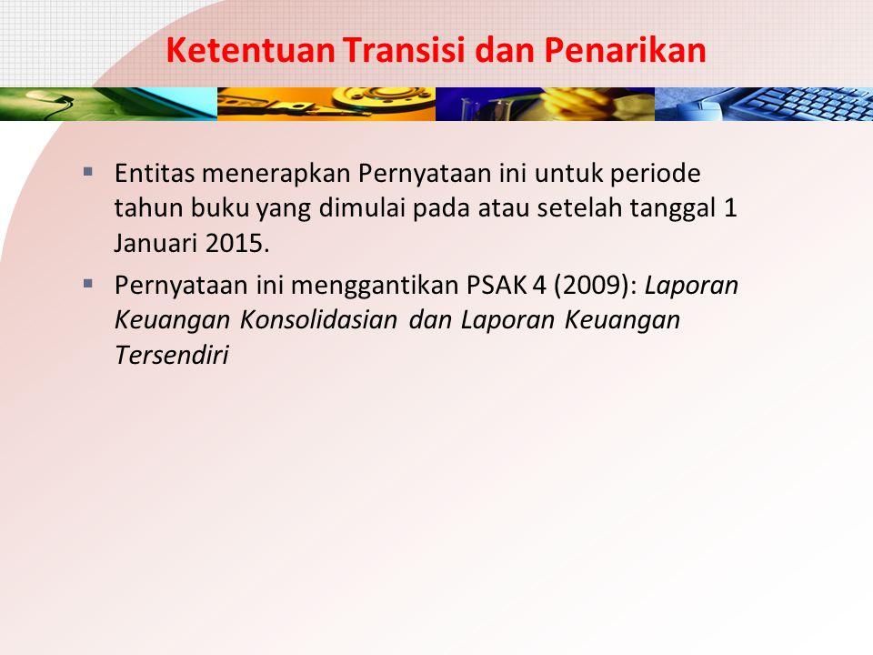 Ketentuan Transisi dan Penarikan  Entitas menerapkan Pernyataan ini untuk periode tahun buku yang dimulai pada atau setelah tanggal 1 Januari 2015. 