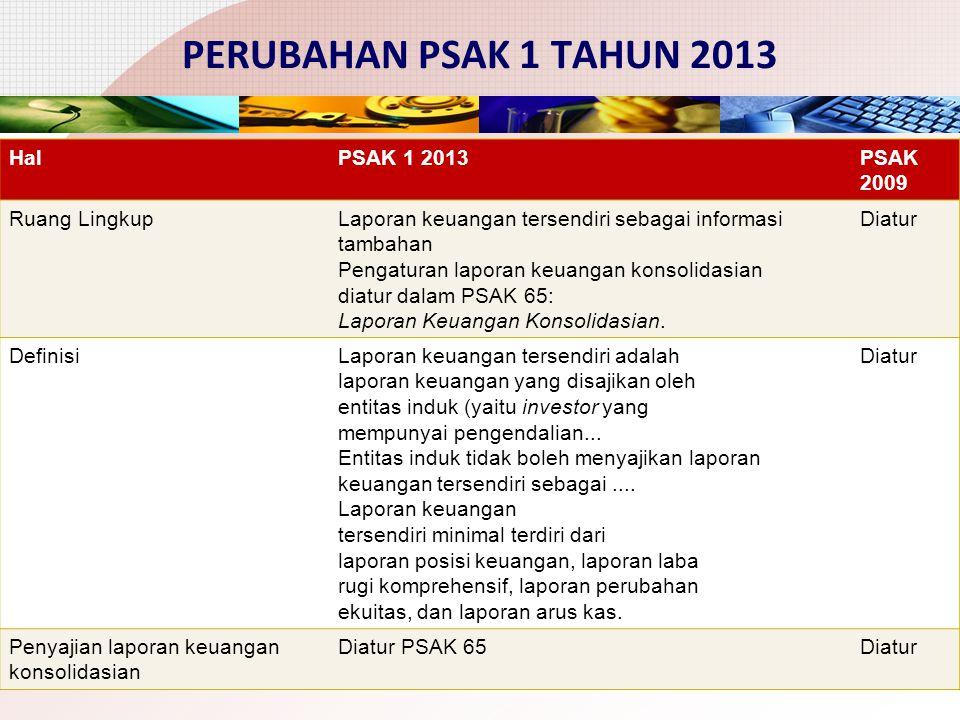 PERUBAHAN PSAK 1 TAHUN 2013 5 HalPSAK 1 2013PSAK 2009 Ruang LingkupLaporan keuangan tersendiri sebagai informasi tambahan Pengaturan laporan keuangan